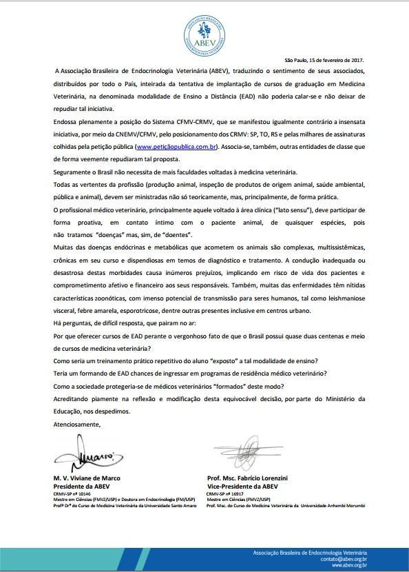 Carta ABEV de repúdio à criação de cursos de graduação em Mdicina Veterinária baseado em EAD ensino à distância